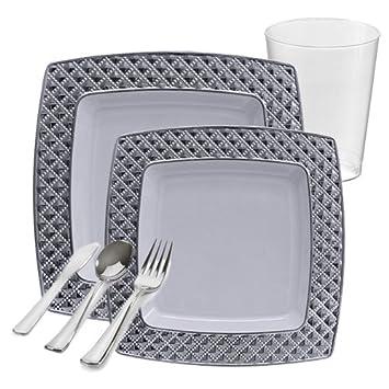 Vajilla de plástico para 20 invitados, incluye platos de postre, vasos de plástico y cubiertos de 120 piezas, color blanco con diamante de plata: Amazon.es: ...