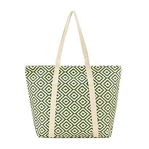 Alady Fashion Women Shoulder Canvas Tote Bag with Zipper Closure Multi Purpose Large Travel Shopping Beach Bags, Green Diamond