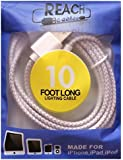 10 Foot Long iPhone, iPad Charging Cord - Extra Long Lightning Cable is Constructed of Braided Fabric - More Durable than Certified Apple Cords