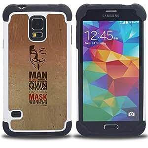 BullDog Case - FOR/Samsung Galaxy S5 I9600 G9009 G9008V / - / REVOLUTION MASK PROTEST FREEDOM ANONYMOUS /- H??brido Heavy Duty caja del tel??fono protector din??mico - silicona suave