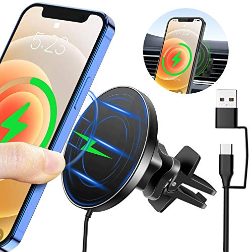Ciencimy 15W Magnetic Wireless Car Charger Compatible for Magsafe iPhone 12/ iPhone 12 Pro Max Mini Fast Charging Air Vent Mount Mobile Phone Holder