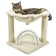 FurHaven Pet Cat Furniture | Tiger Tough Plush Cat Hammock, Cream, One Size