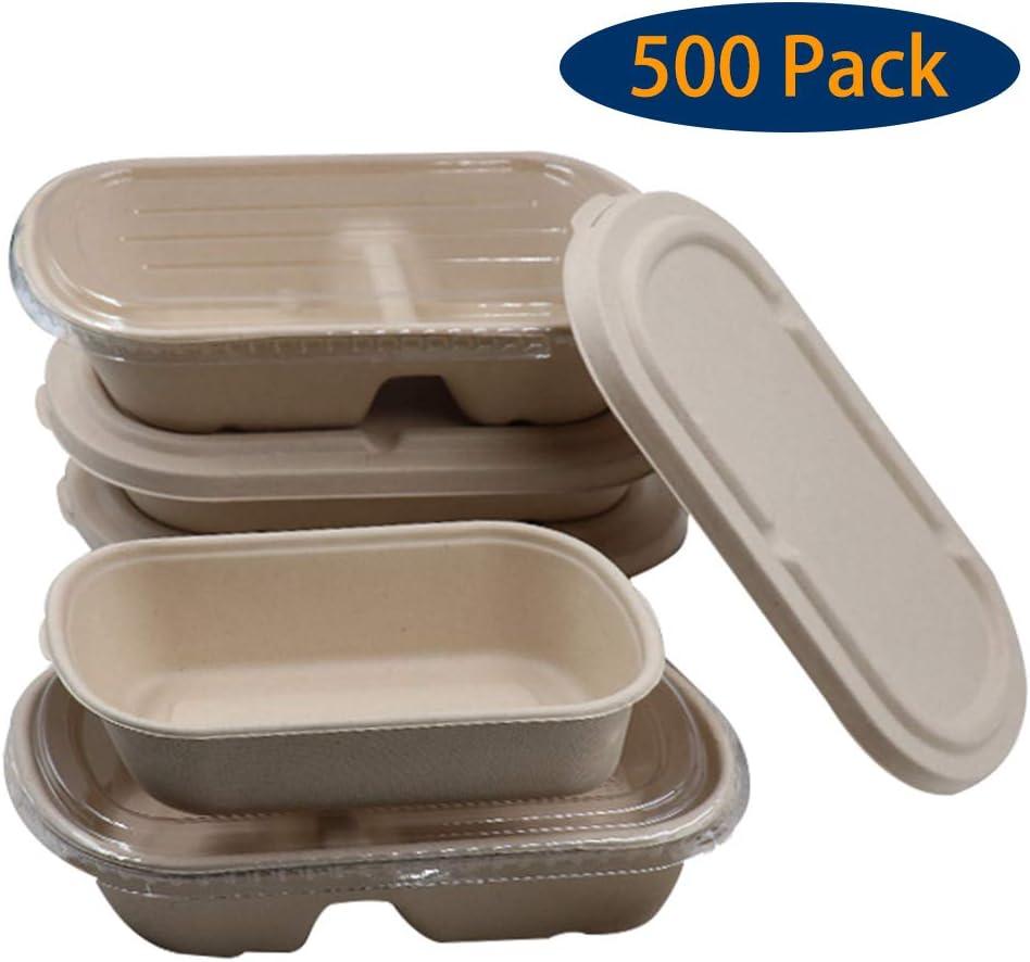 ADKINC 蓋付き500パックの食事準備容器、2つのコンパートメント食品保管弁当箱、積み重ね可能-パーティー/キャンプ