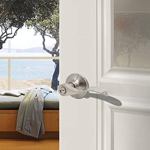 8 Pack Privacy Door Lock Lever Keyless Door Lockset Handleset ;Right/Left Handed Reversible;Satin Nickel Door Levers Hardware withour Key for Bathroom and Bedroom -Door Lever 12061 by Probrico (Image #3)