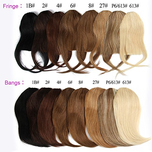 Hair Bangs Clip - Brazilian virgin Human Hair clip in Bangs clip on Hair Extensions fringe Hair weave clip ins 8inch/20g Hairpieces (#2 fringe)
