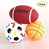 Stock Show 3Pcs Pet Dog Balls Squeak Toys Latex Rubber Fetch Throw Playtoys for Small Dogs Cats - Football + Basketball + Rugby