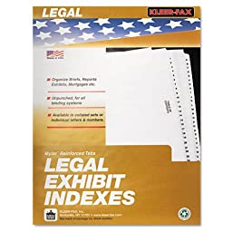 Kleer-Fax Letter-Size Individual Exhibit Letter Index Dividers, Side Tab, 1/10th Cut, 25 Sheets per Pack, White, Exhibit D (81004)