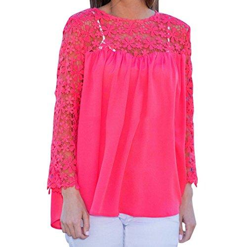 OverDose Mujeres Casual de manga larga de encaje ahuecar a cuello redondo cuello de costura blusa superior Rosa caliente