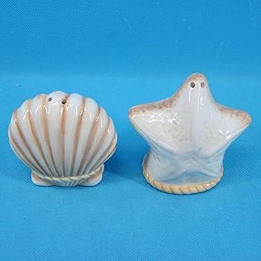 Ceramic Seashell and Starfish Design Salt & Pepper Set