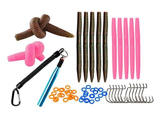 Wacky Worm Fishing - ILURE Wacky Senko Worm Bait Rig Kit with Hooks/O-Rings/Tool for Bass Fishing Lure