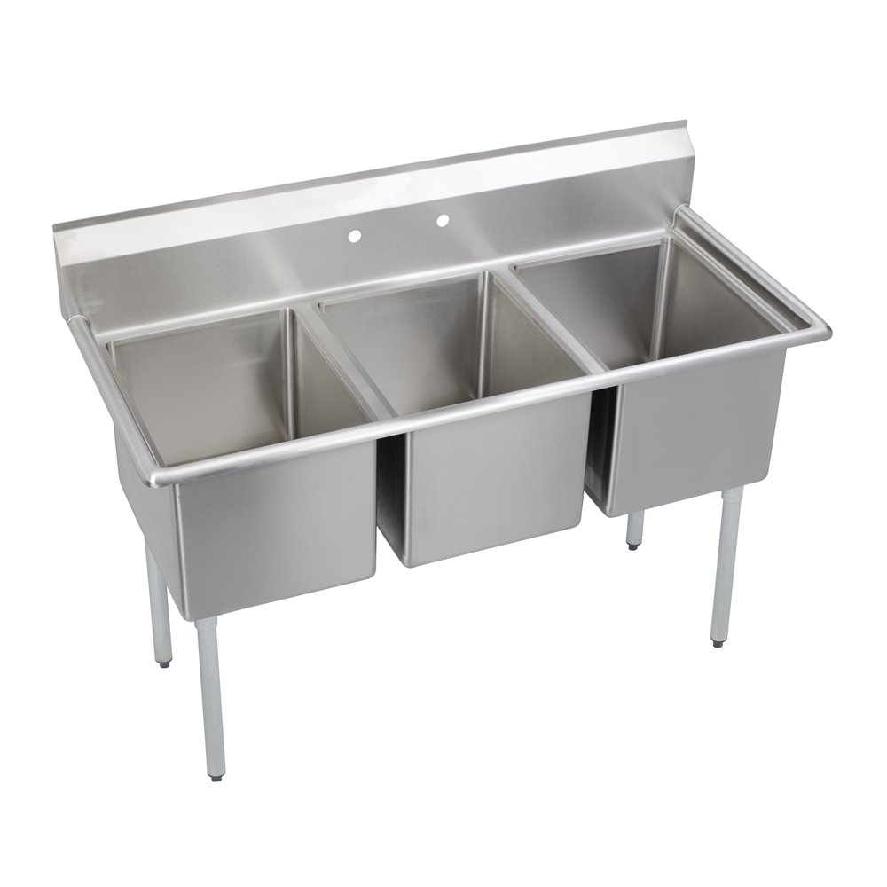 Economy Scullery Sink, 3-Compartment 12'' Deep Bowl(S), No Drainboards, 57 (L) X 25.75 (W) X 45.75 (H) Over All
