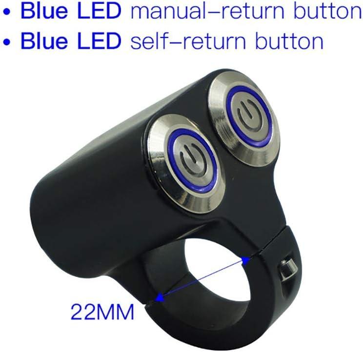 DANJIA 22mm 25mm Motorrad Schalter Scheinwerfer Gefahr Bremsnebel Einfacher Start T/öten EIN-AUS-Steuerung Zweifach-Schalter Mit Kontrollleuchte Color : Blue-self 22mm