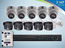 Gawker 3MP TVI 10 Camera Surveillance Kit 4TB HDD 5 Bullets 5 Turret 16CH DVR 10 Cables and 10 Power adaptors