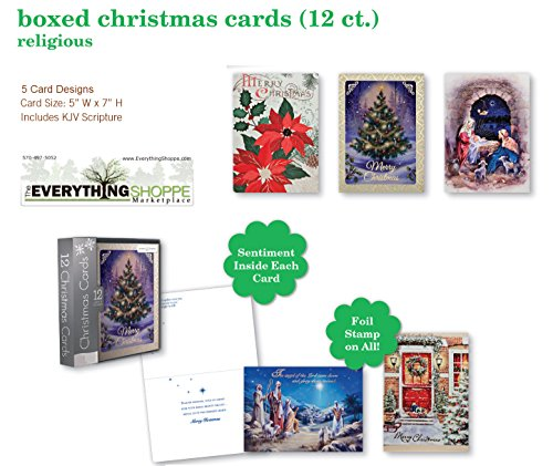 Christmas Holiday Boxed Cards Religious Xmas Box Set Assorted Cards 12 Count with Poinsettias, Christmas Tree, Nativity, and Wise Men