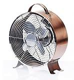 DecoBREEZE Retro Table Fan 2 Speed Air Circulator Fan, 9 In, Brushed Copper