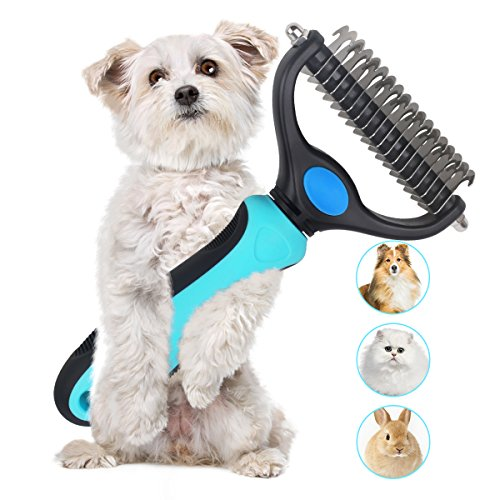 Dematting Comb Double Sided Pet Grooming Tools Dog Deshedding Brush Stainless Steel Pets Undercoat Rake for Long Short Hair Cats Dogs by PetGuard (Image #7)