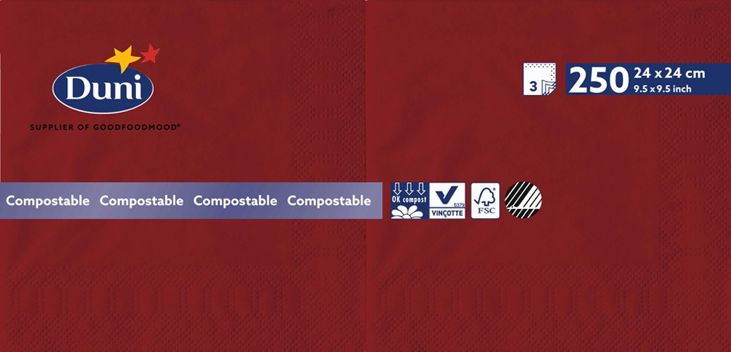 confezione da 2000 bordeaux Duni 168415/tovaglioli in tessuto a strati 24/cm x 24/cm