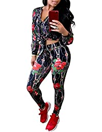 Women's Long Sleeve 2 Pieces Outfit Geometric Print Top and Long Pants Bodycon Jumpsuits Set