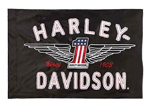 HARLEY-DAVIDSON Embroidered Frayed Estate Winged #1 Flag, 3 x 5 ft. Black 124917 (Richmond Va Decorative Flags)
