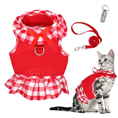 WONDERPUP Escape Proof Cat Dog Harness with Leash Set- Adjustable Soft Mesh with D-Ring for Kitty Puppy Rabbits Small Dogs Animal Red M