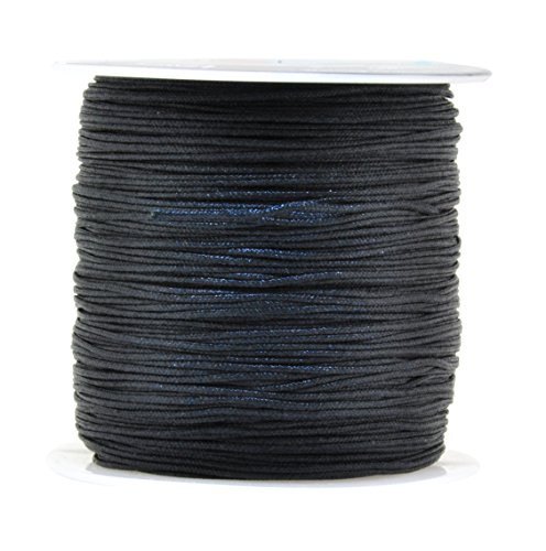 Mandala Crafts 0.8mm 100M Satin Nylon Chinese Knot Rattail Macramé Beading Knotting Sewing Cord(Black) ()