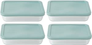 Pyrex 3-cup Rectangle Food Storage with Sky Blue Lid (Pack of 4 Containers)