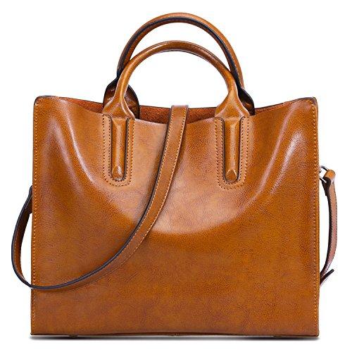 - On Sale- S-ZONE Women Genuine Leather Top Handle Satchel Crossbody Shoulder Bag Medium
