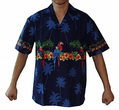 84b3318e Men's Parrots Hibiscus Hawaiian Luau Cruise Aloha Shirt (L, NAVY)
