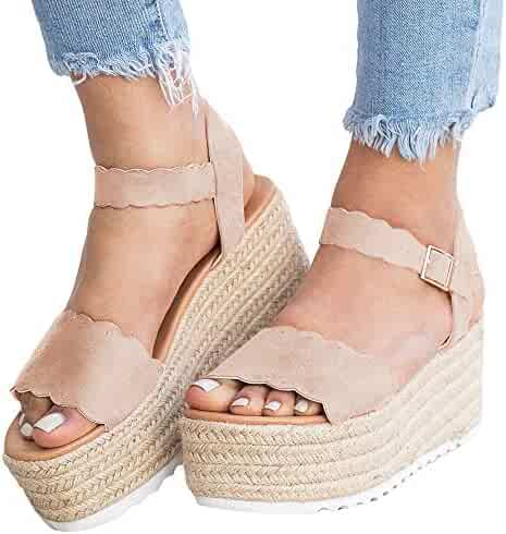 e275eabd61e Womens Espadrilles Platform Sandals Open Toe Scalloped Flatform Ankle Strap  Dress Shoes