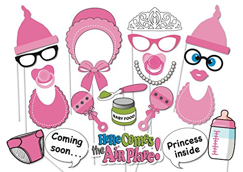 [USA-SALES] Baby Shower Photo Booth props, Attached to the stick, NO DIY REQUIRED Its A Girl, baby shower decoration, party photo booth]()