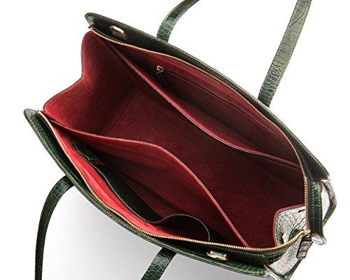 SAGEBROWN Green Croc Ladies Leather Work Bag by Sage Brown (Image #3)