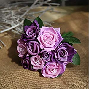 MARJON FlowersArtificial Bouquet Artificial Silk Fake Flowers Leaf Rose Wedding Floral Decor Bouquet (Purple) 66
