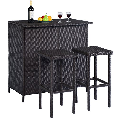 New Brown, GOPLUS 3PCS Rattan Wicker Bar Set Patio Outdoor Table & 2 Stools Furniture (Wicker Bar Stools For Less)