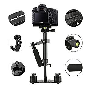 "Dazzne S40 Handheld Camera Stabilizer 15.75""/40cm Mini steadicam with Quick Release Plate 1/4'' Screw Pro for Video Camera DV DSLR Nikon, Canon, Sony, Panasonic-up to 0.2-1.5kg/0.44-3.31Ib"