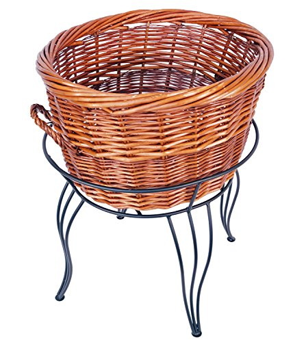 27''H Large Round Willow Basket and Floor Stand Display Rack with Sign Clip by Mobile Merchandisers