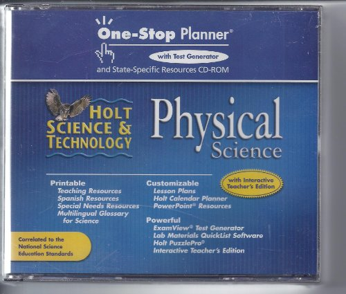 Holt Science & Technology: One-Stop Planner with Test Generator and State-Specific Resources CD-ROM Physical Science (One Stop Planner Cd Rom With Test Generator)