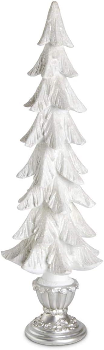K&K Interiors 53905A-2 23.5 Inch White Glittered Resin Christmas Tree On Silver Pedestal