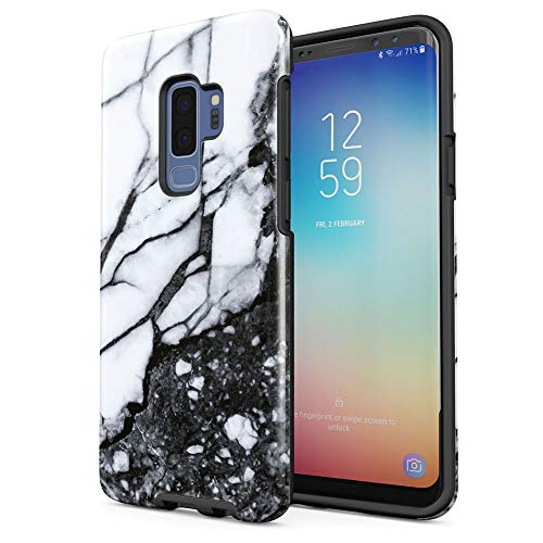 Crystal White Marble & Granite Print Samsung Galaxy S9 Plus Silicone Inner/Outer Hard PC Shell Hybrid Armor Protective Case Cover