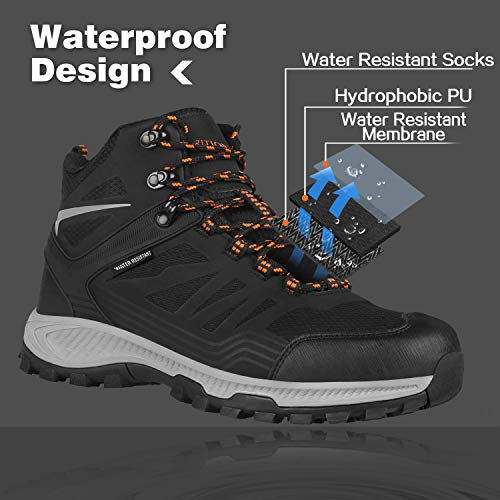 GRITION Mens Hiking Boots Waterproof, Mid Ankle Work Snow Boots for Men, Black Shoes for Backpacking Trekking Outdoor Mountaineering and More