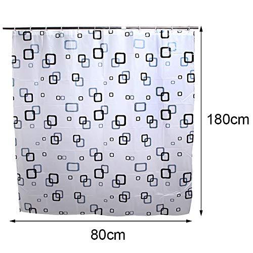 Wansan Geom/étrico Impreso Impermeable Cortina de Ducha Peque/ña Forma Cuadrada Cortina de ba/ño con Ganchos PEVA 150 180CM