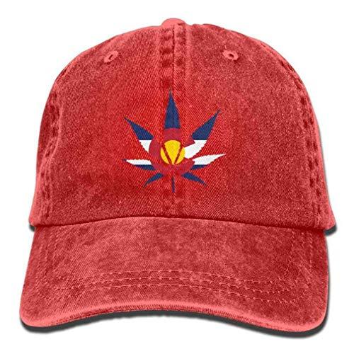 YINREN Weed Colorado Flag Denim Hat Adjustable Female Casual Baseball Hats Red Hats