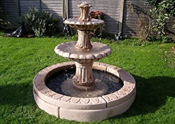 Stone Garden Water Feature.4ft 3inch 2 Tier Fountain And 4ft 10icnh Double  Pool Surround