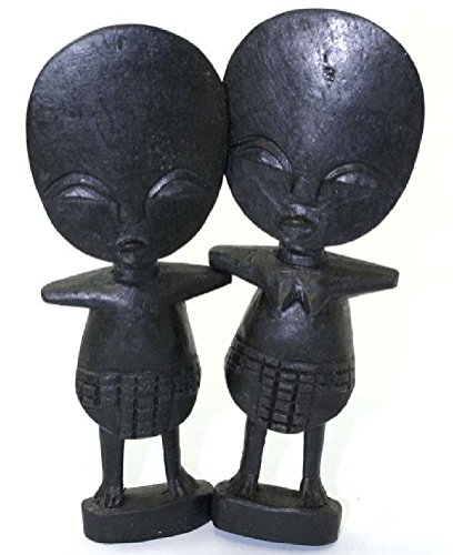 (2 Wooden Wood African Fertility Dolls Boy and Girl Doll - Large Size 8 Inches Tall)