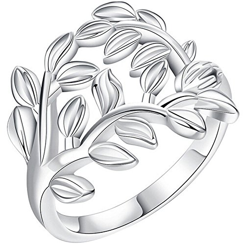 Ivy Vine Ring - LWLH Jewelry Womens 925 Sterling Silver Plated Fashion Vintage Leaves Ivy Leaf Vine Ring Wedding Band Szie 8