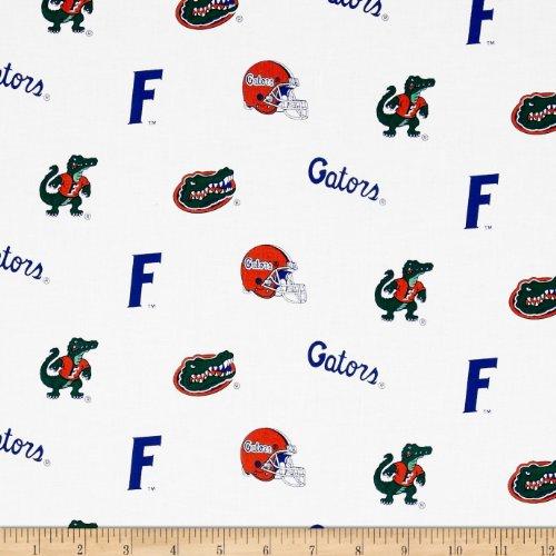 Gators Fabric - Sykel Enterprises Collegiate Cotton Broadcloth University of Florida Gators Fabric by the Yard, White