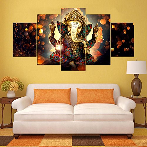 [Medium] Premium Quality Canvas Printed Wall Art Poster 5 Pieces / 5 Pannel Wall Decor Lord Ganesha Painting, Home Decor Pictures - With Wooden Frame