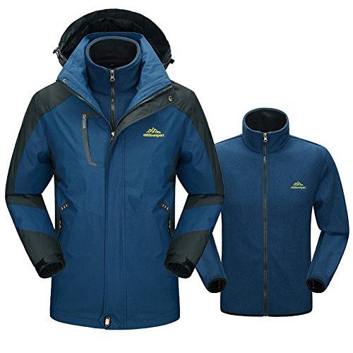 ain 3 In 1Outdoor Waterproof Raincoat Windproof Ski Jacket Winter Hooded Warm Fleece Liner Outwear (Navy Blue, XXL) (Army All Weather Coat)