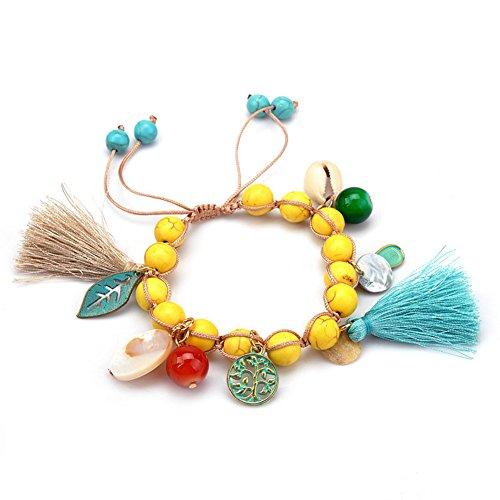 SIVITE Boho Multicolor Turquoise Beads Bracelet Tree of Life Leaf Bell Tassel Charm Bracelet for Women Adjustable