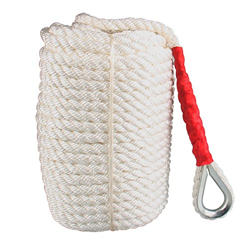 Twisted Anchor Rope, 3/4 inch 200 Feet White Line Nylon Three Strand Twisted Dockline Braided Anchor Rope Boat Sailboat Line with Thimble 12592LB Breaking Strain (Lines Three Strand Anchor)