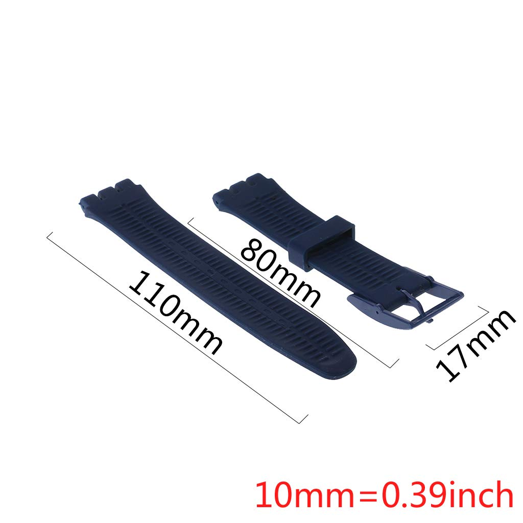 huanban072 Silicone Rubber Watch Band Strap Waterproof Wristband Buckle Watchband for Swatch 17mm Replacement Accessories (White) by huanban072 (Image #2)